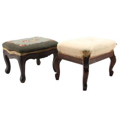 Victorian Footstool and Other Needlepoint Footstool, 20th Century