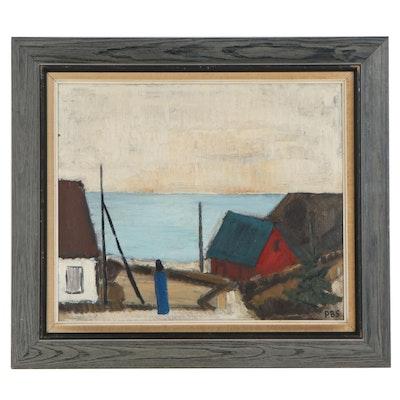 Peder Sorensen Modernist Style Harbor Scene Oil Painting, 20th Century