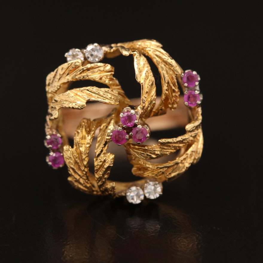 18K and 14K Ruby and Diamond Ring Featuring Openwork Foliate Design