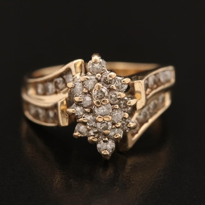 10K 1.00 CTW Diamond Cluster Ring