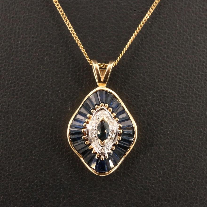 14K Sapphire and Diamond Ballerina Pendant on 10K Chain Necklace