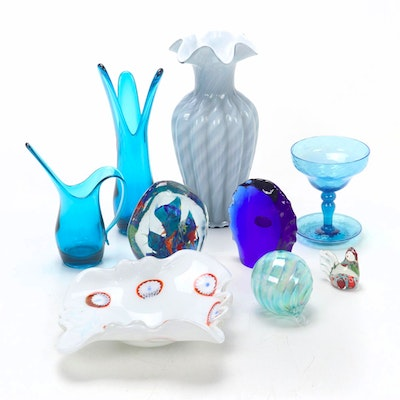 Fenton Glass Vase and Other Art Glass
