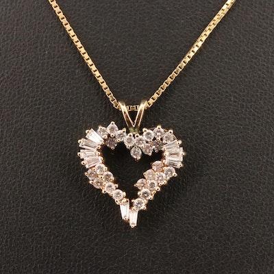 14K 1.00 CTW Diamond Open Heart Necklace