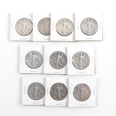 Ten Walking Liberty Silver Half Dollars, 1917 to 1928