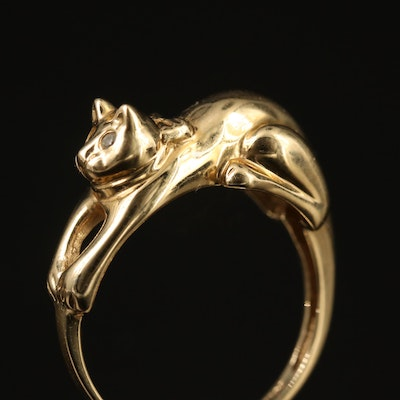 14K Diamond Cat Ring
