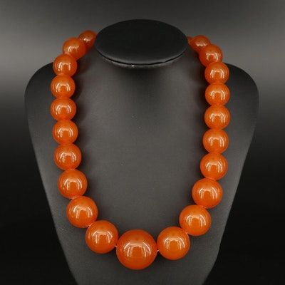 Graduated Copal Beaded Necklace