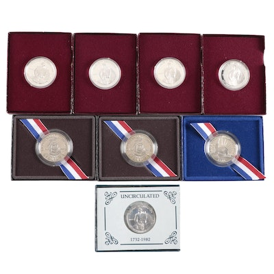 Eight Modern Commemorative Half Dollars, Including Silver