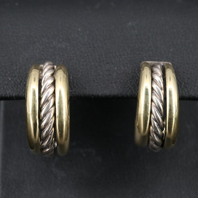 David Yurman Sterling and 18K J-Hoop Earrings