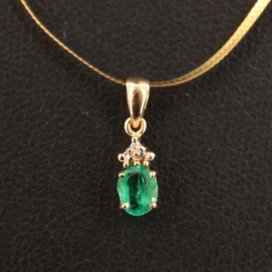 10K Emerald and Diamond Pendant on 14K Chain Necklace