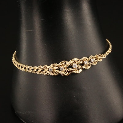 14K Diamond Graduated Chain Bracelet