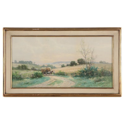Carl Weber Watercolor Painting of Pastoral Scene, Early 20th Century