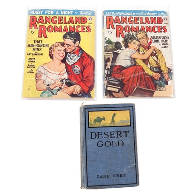 """Desert Gold"" by Zane Grey with ""Rangeland Romance"" Magazines"