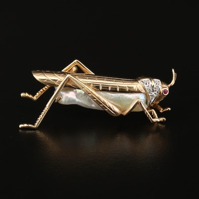 14K Keshi Pearl and Diamond Grasshopper Brooch