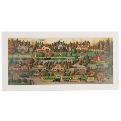 "Offset Lithograph after Charles Wysocki ""Labor Day in Bungalowville"""