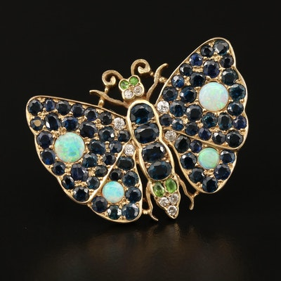 Vintage 14K Diamond and Gemstone Butterfly Brooch