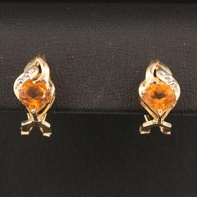 10K Citrine and Diamond Heart Motif Earrings