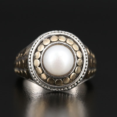 John Hardy Sterling and 18K Pearl Ring with Euro Shank