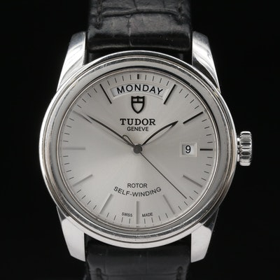 Tudor Glamour Day-Date Stainless Steel Automatic Wristwatch