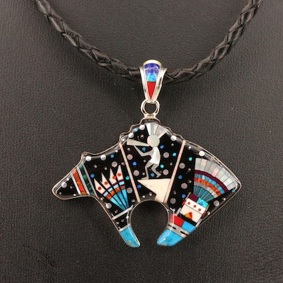 Signed Western Sterling Silver Inlay Fetish Pendant Necklace