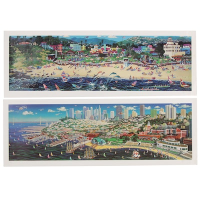 Alexander Chen Serigraphs of Seaside Cityscapes
