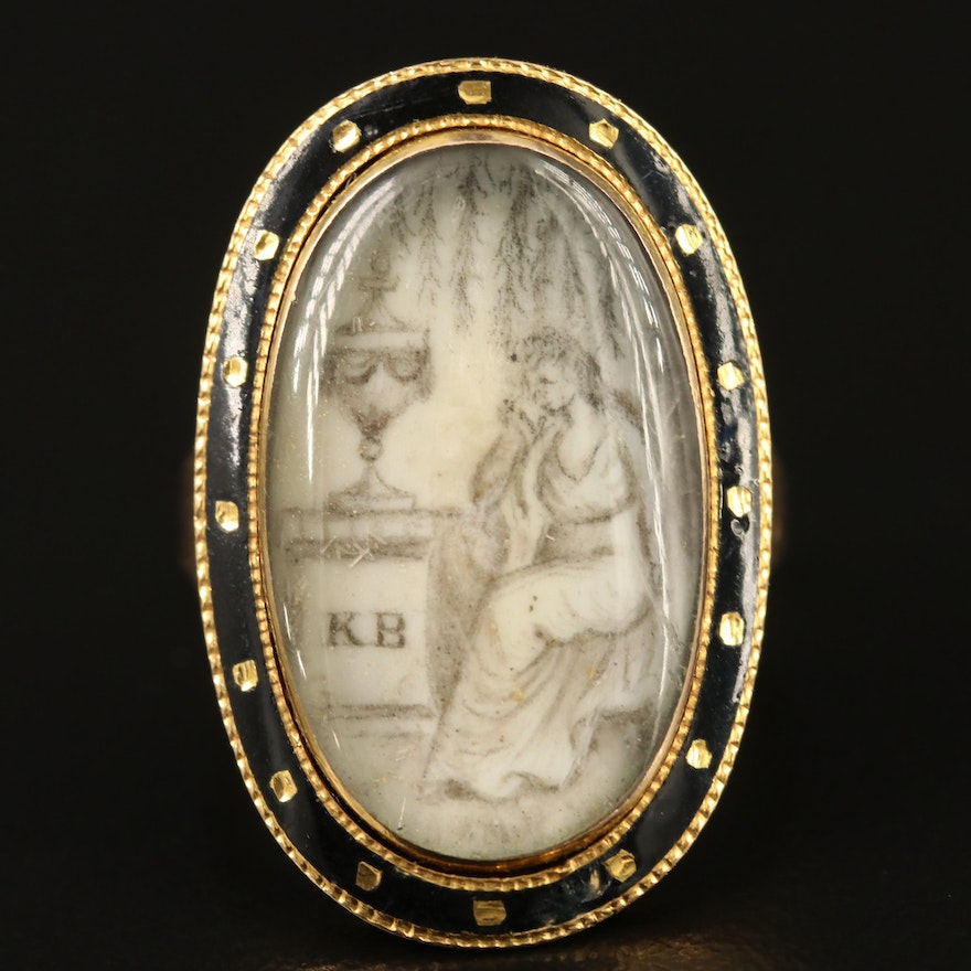 Georgian 14K Weeping Willow Mourning Ring with Scottish Nobility Connection