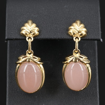 Tony White 18K Rose Quartz Dangle Earrings