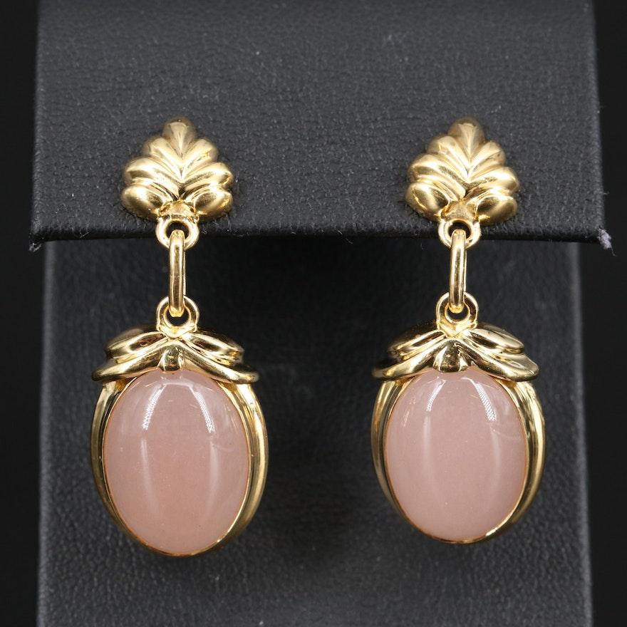 Tony White 18K Rose Quartz Dangle Earrings