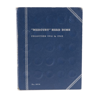 Sixty-Four Mercury Silver Dimes in Whitman Coin Book, 1916–1945