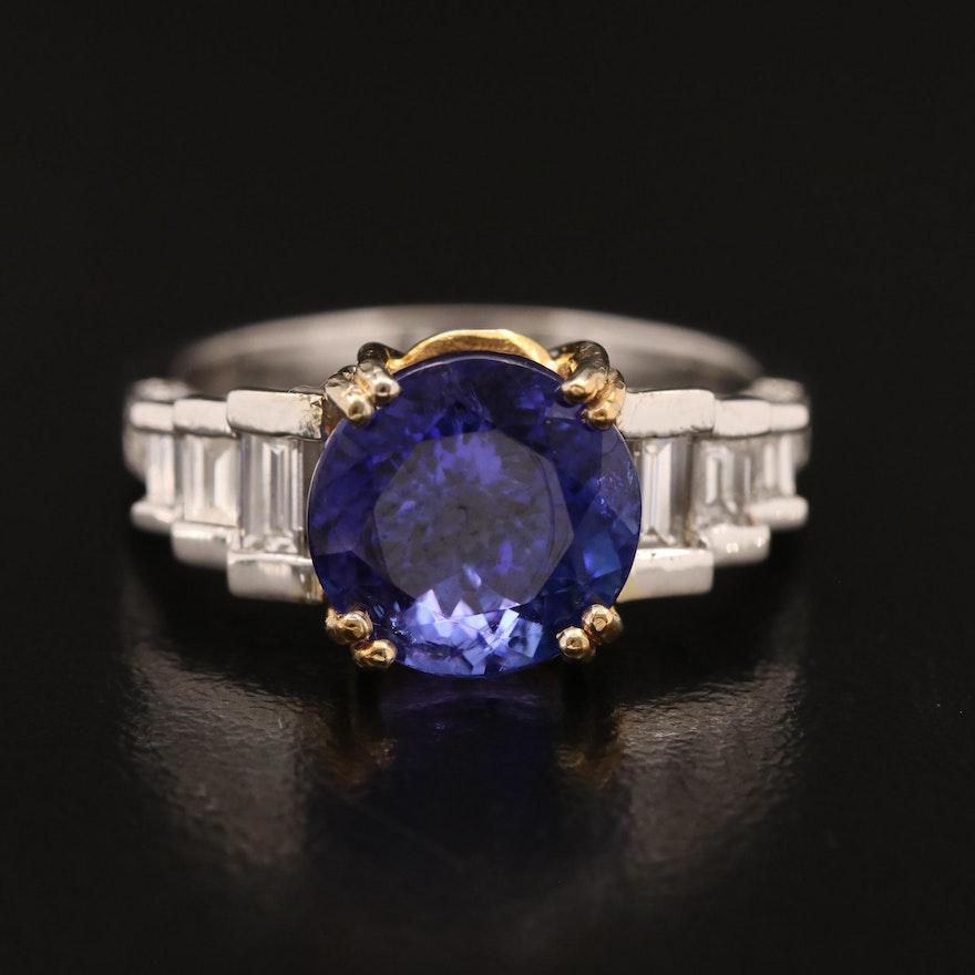 14K 4.02 CT Tanzanite and 1.00 CTW Diamond Ring