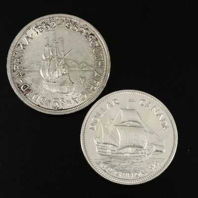 Silver Canadian Dollar and Silver 5-Shilling South African Commemorative Coin