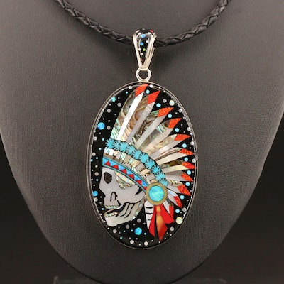 Stella Smiley Navajo Diné Inlaid Skull in Headdress Pendant Necklace