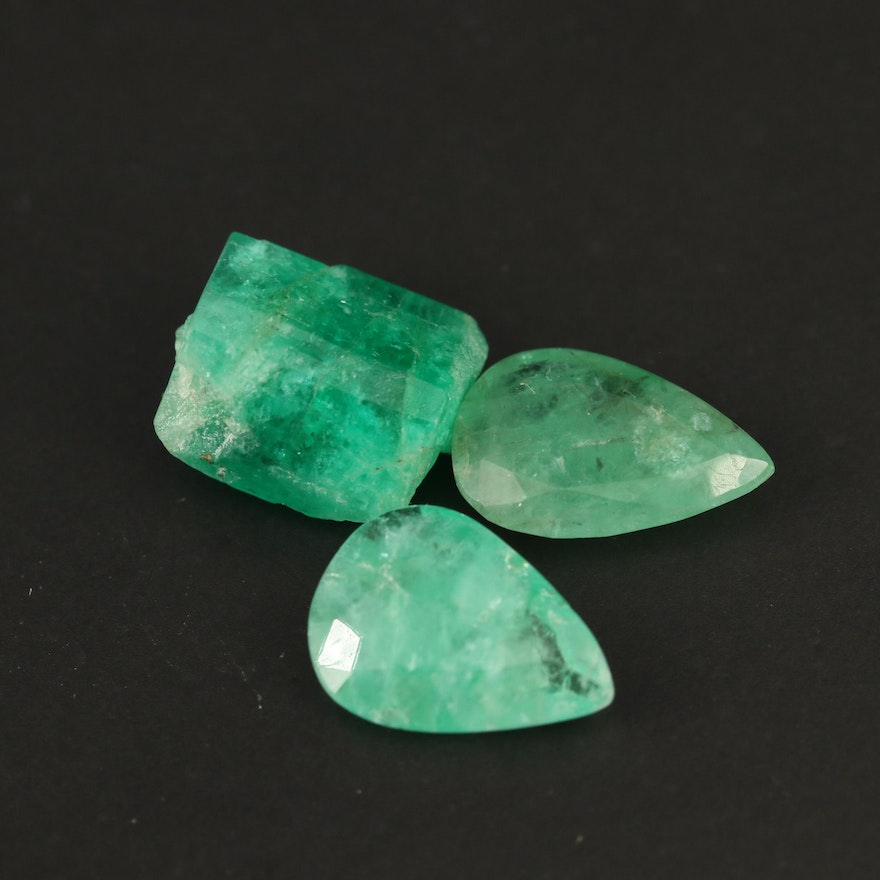 Loose Pear Faceted and Rough Cut Emeralds