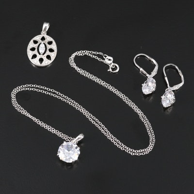 Sterling Silver Cubic Zirconia Jewelry with Dangle Earrings