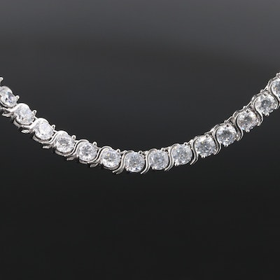 Sterling Silver Cubic Zirconia Line Necklace