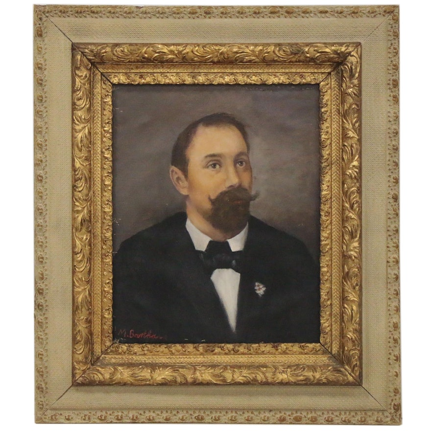Maria Bartha Oil Painting of a Gentleman, Early to Mid-20th Century