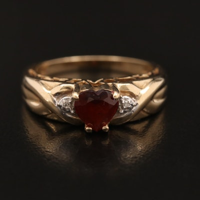 "10K Garnet and Diamond ""Love"" Motif Ring"