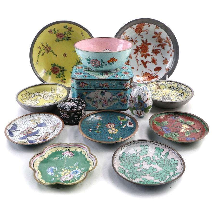 Asian Cloisonné, Enamel and Porcelain Tableware and Décor