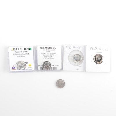 Five Roosevelt Silver Dimes