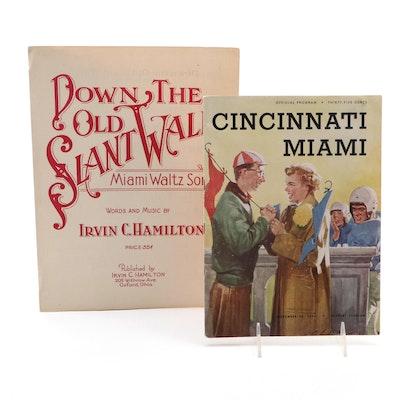 """Down the Old Slant Walk"" Miami Music and 1954 Cincinnati/Miami Football Program"