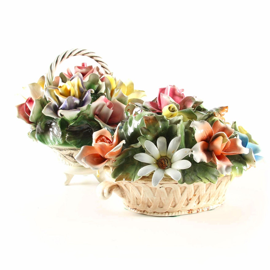 Capodimonte Porcelain Floral Arrangement Basket Figurines