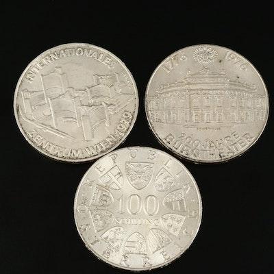 Silver Austrian Commemorative 100 Shilling Coins