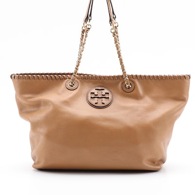 Tory Burch Whipstitch Logo Tote in Light Brown Grained Leather