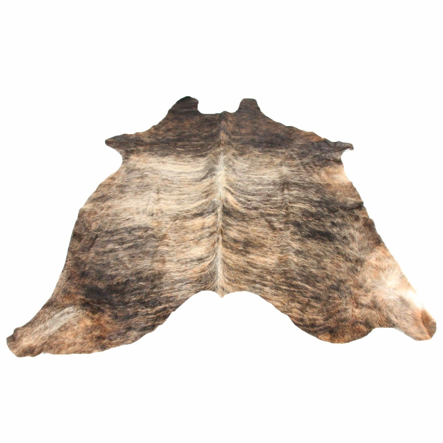 5'8 x 6'9 Natural Brindle Cowhide Rug