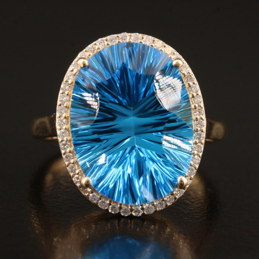 14K 12.00 CT Topaz and Diamond Halo Ring