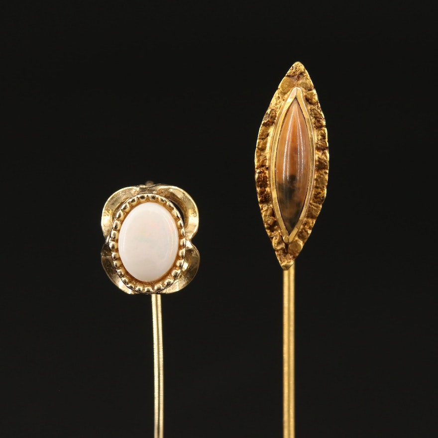 Vintage Stick Pins Featuring Opal, Shell and 10K Accents