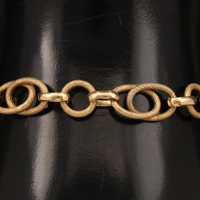 14K Textured Double Oval Link Bracelet