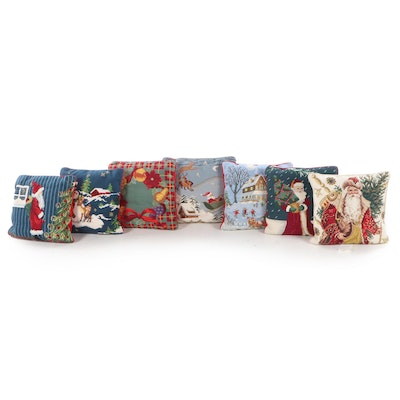 Christmas Needlepoint Decorative Accent Pillows