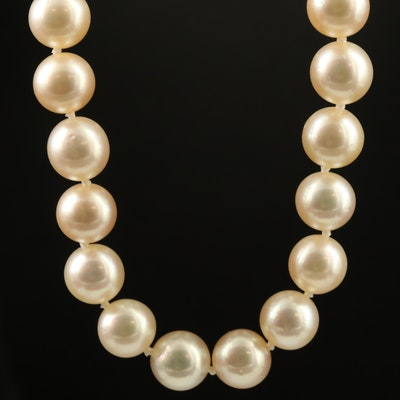 Matinee Length Pearl Necklace with 14K Pearl Clasp
