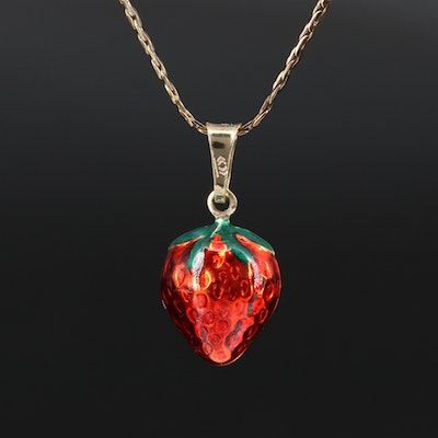 14K Enamel Strawberry Pendant on Gold Filled C-Link Chain Necklace