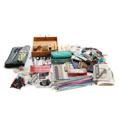 Knitting, Crocheting, Wood Sewing Box, and Sewing Supplies